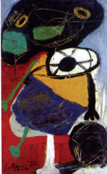 Karel Appel Ragazzo con palla 1950. Christiaan Karel Appel was a Dutch painter, sculptor, and poet. He started painting at the age of fourteen and studied at the Rijksakademie in Amsterdam in the 1940s. He was one of the founders of the avant-garde movement Cobra in 1948.