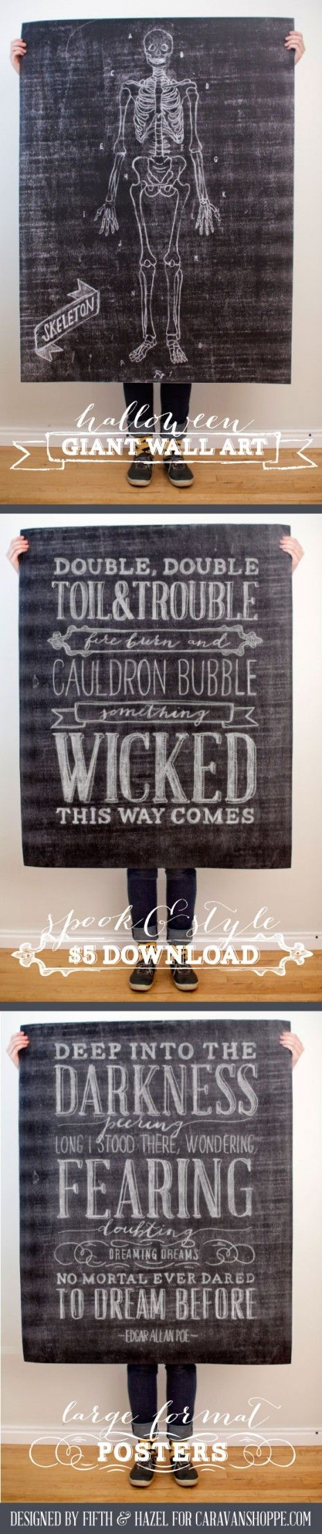 $5 Printable Halloween Wall Art for Caravanshoppe.com - such a great decorating option for such low money!