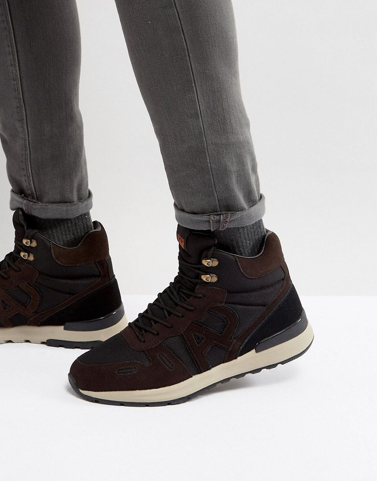 ARMANI JEANS LOGO LACE UP BOOTS IN BROWN/BLACK - BROWN. #armanijeans #shoes #