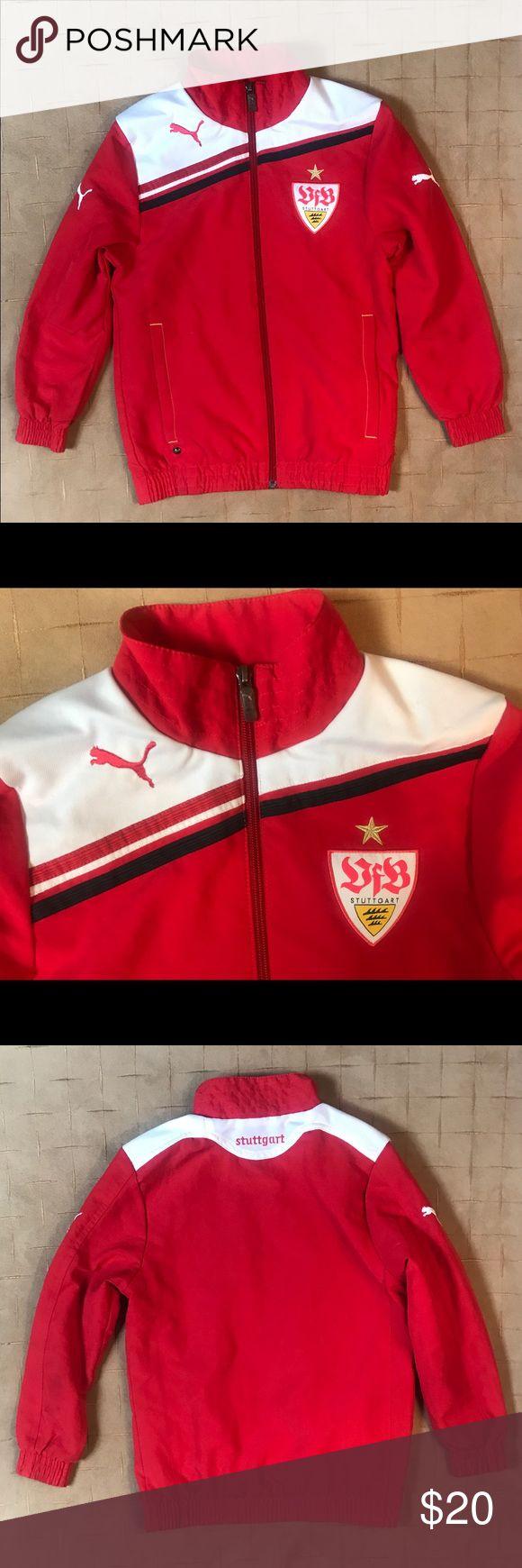 ♻️puma Stuttgart Football jacket size YSmall ♻️Puma German Stuttgart Football Full Zip Jacket Puma Jackets & Coats