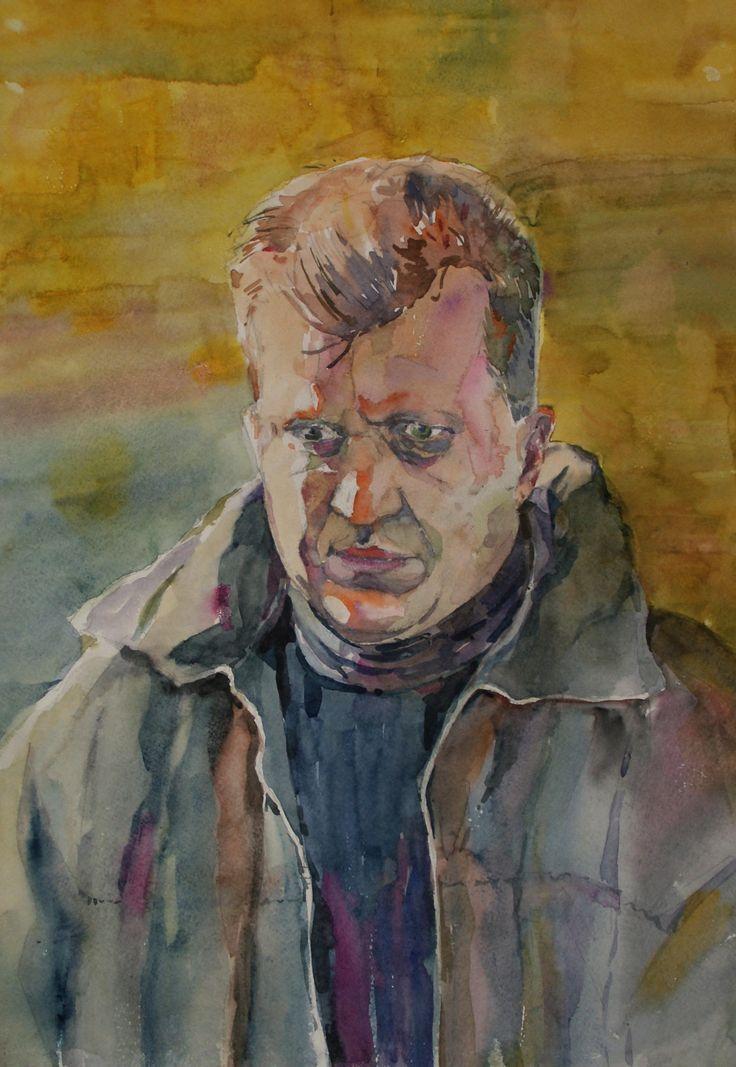 """""""Автопортрет в походных одеждах"""", бумага, акварель, 58х40"""