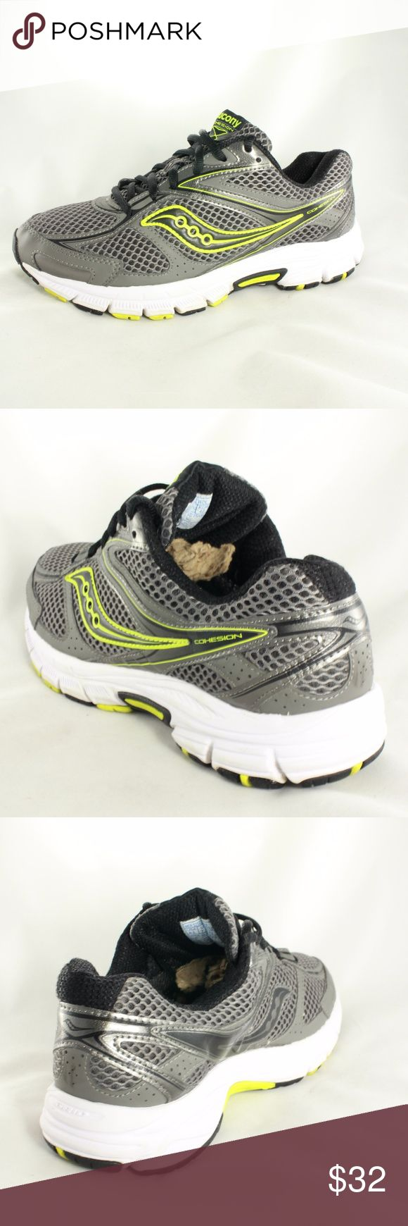 Saucony Cohesion 9 Gray Neon Running Shoe 8.5 WIDE Highly rated 4.5/5 stars for this particular Saucony running shoe by all owners. Great support and energy transfer! Upper condition is 10/10 with no damage. Sole is 9/10 with minimal normal wear. These are really comfortable running shoes! Size 8.5 WIDE Saucony Shoes Athletic Shoes