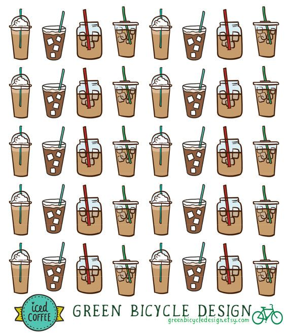 Iced Ice Coffee Planner Calendar Stickers  by GreenBicycleDesign