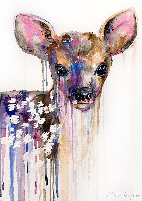 Deer watercolor  painting print, Roe Deer,  animal, illustration, animal watercolor, watercolor painting, watercolor portrait