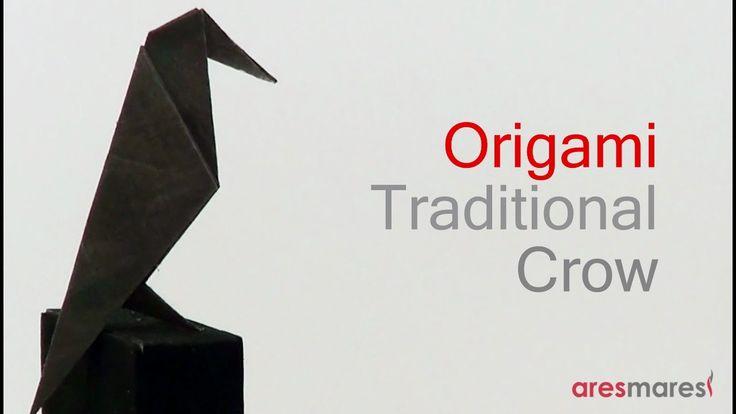 Origami Crow (easy traditional) Ένα εύκολο κοράκι από χαρτί, για τις πρώτες προσπάθειες.