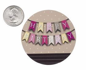 "3604 - 2 1/2"" Happy Birthday Banner Pink Favor Label, 50 Count #birthdayparty #partyfavor #happybirthday #stickerlabel #favorlabel #pink"