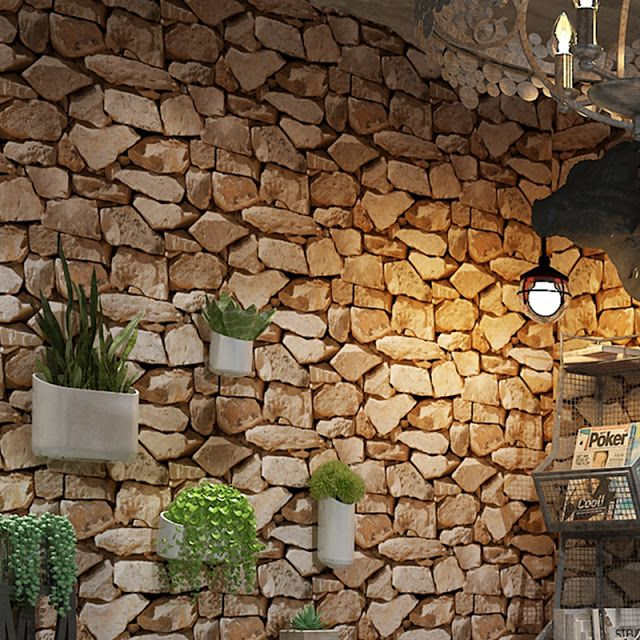 Feature 3d Fake Wall Stone Effect Wallpaper Decorating Ideas In 2020 Stone Wallpaper 3d Stone Wallpaper Faux Stone Wallpaper