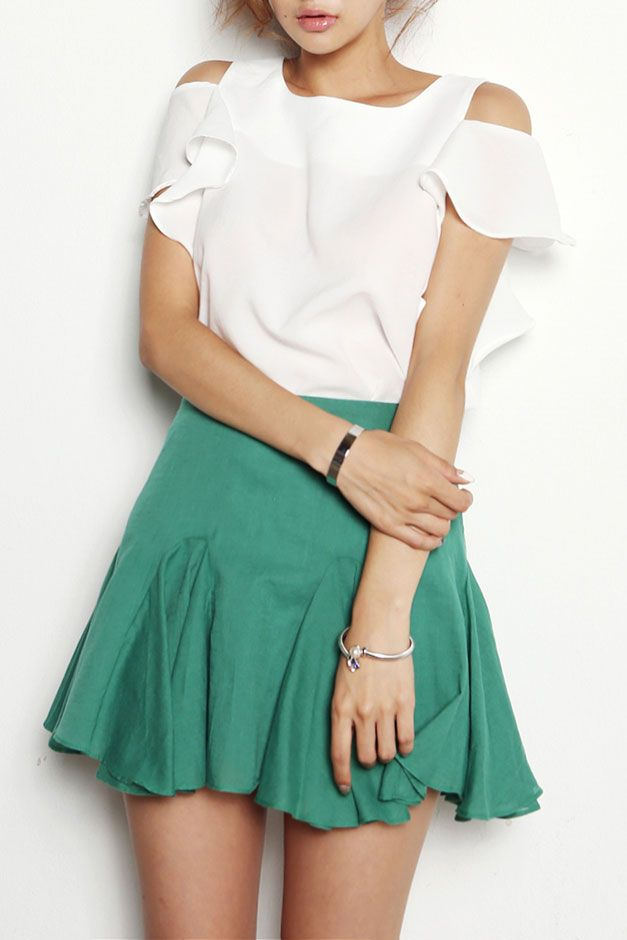 Light Simple Flare Skirt