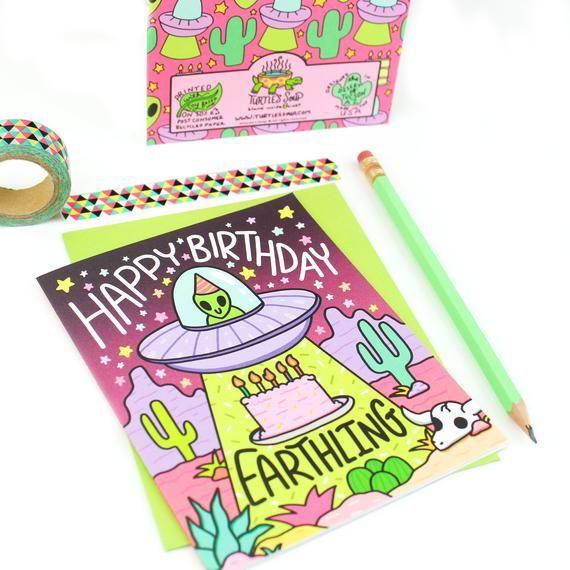 Happy Birthday Earthling, Alien Abduction Birthday Card