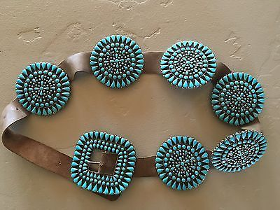 Vintage-Navajo-Turquoise-Silver-Concho-Belt
