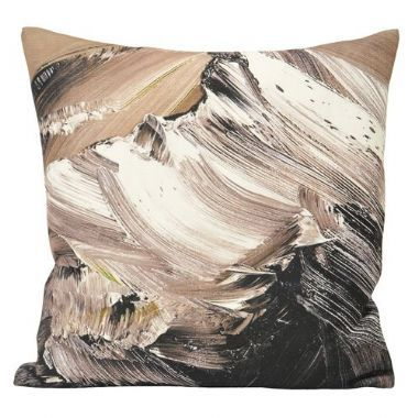 Everest Charcoal Brown Abstract Cushion - £12 | brandinteriors.co.uk
