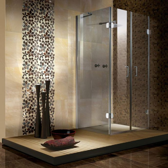 20 best aubergine images on Pinterest | Bathroom, Bathroom ideas and Waterfall Mosaic Tile Modern Bathroom Designs on modern mosaic shower curtain, modern kitchen tile, modern mosaic floor, modern stone tile, modern tile wall, blue mosaic tiles bathroom,