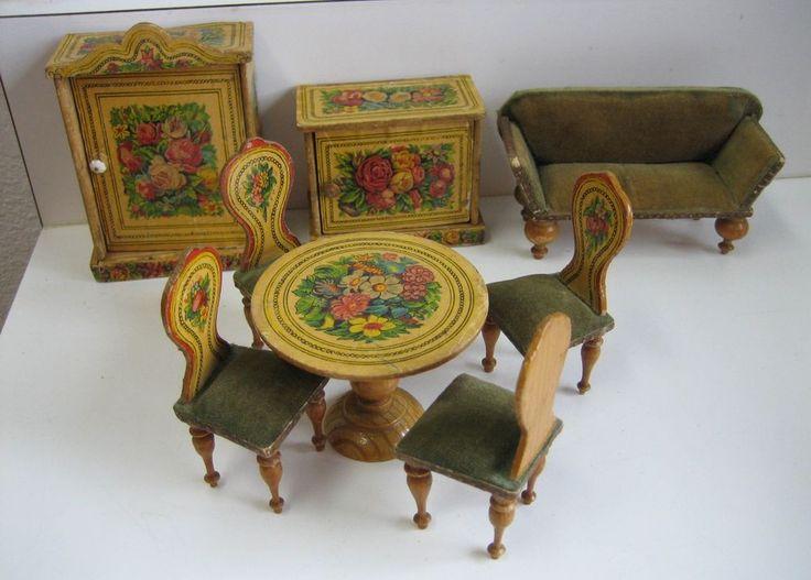Antique miniature German dollhouse paper litho floral furniture 3/4