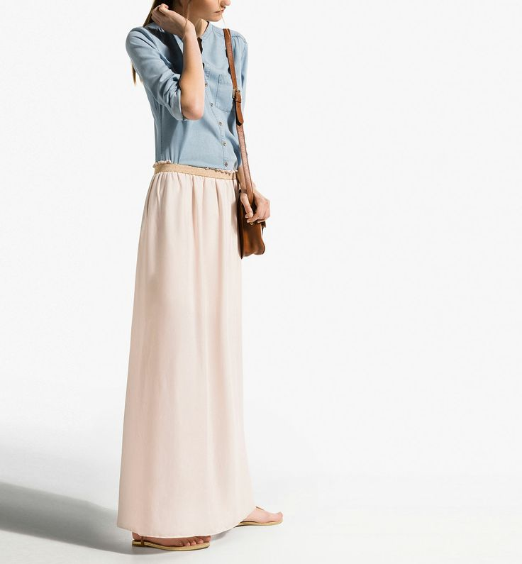 LONG WRAPAROUND SKIRT WITH A SHIMMER WAISTBAND