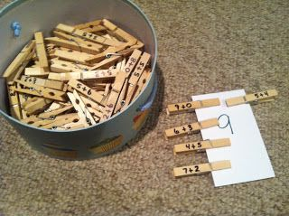 Sums/differences on notecards. Laminate. Students find clothes pins to match. Record in. Notebooks.