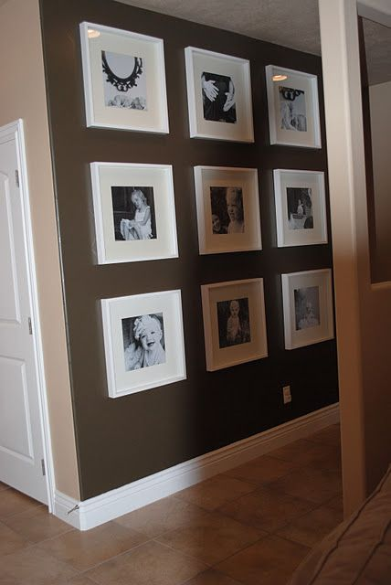 use Michaels $5 12x12 frames ( I think they call them record album frames). Black and white photo's, and you could even cut 12x12 scrapbook paper for the mat effects.
