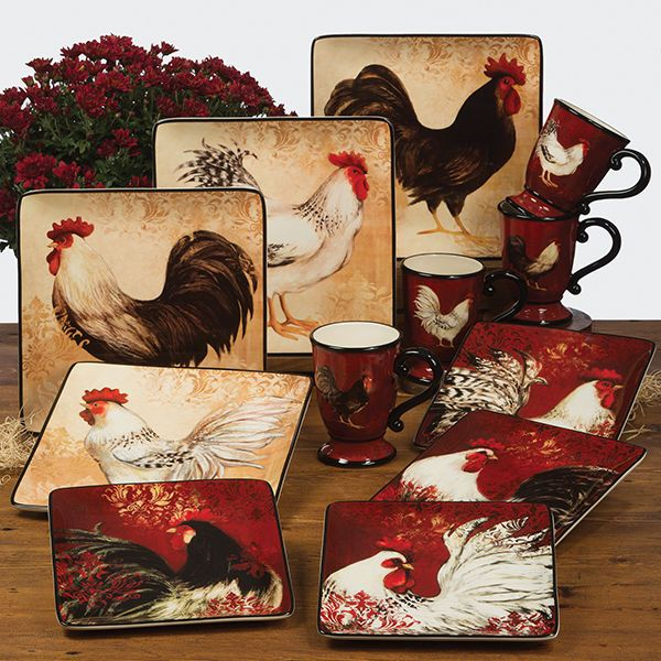 Avignon Rooster Dinnerware Set Handpainted French Country Style