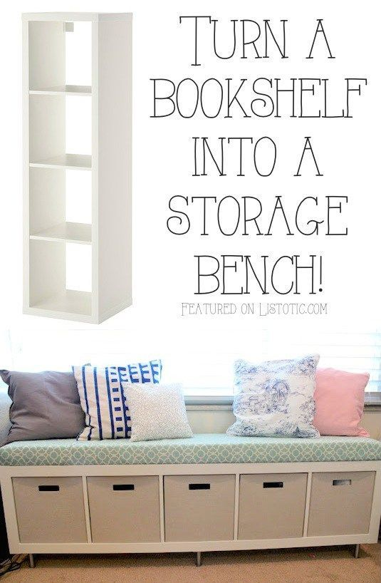 Turn a simple book case into an elegant bench with storage