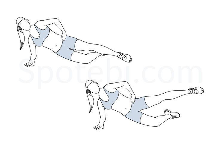 Side plank hip abduction exercise guide with instructions, demonstration, calories burned and muscles worked. Learn proper form, discover all health benefits and choose a workout.