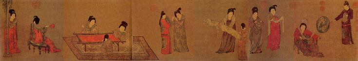 """Zhou Fang(周昉) , Fang Lady With Servants.  He came from a noble background and this was reflected in his works, such as Court Ladies Adorning Their Hair with Flowers (attributed) or Court Lady With Servants. He was influenced by the pure and detailed style of Gu Kai-zhi and Lu tan-wei from the Six dynasties in his work. The late Tang dynasty art critic Zhu Jing Xuan said: """"Zhou Fang's Buddha, celestial beings, figures, and paintings of beautiful women are all incredible masterpieces."""""""