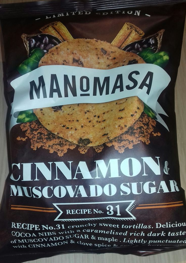 Manomasa Limited Edition Tortilla Chips - crunchy tortilla chips with cocoa nibs, muscovado sugar, maple, cinnamon, clove spice & buttermilk. It's better than it sounds, promise! Full review online, click the link.  #manomasa #tortilla #chips #crisps #cinnamon #cocoa #muscovado #maple #buttermilk #food #junkfood #review