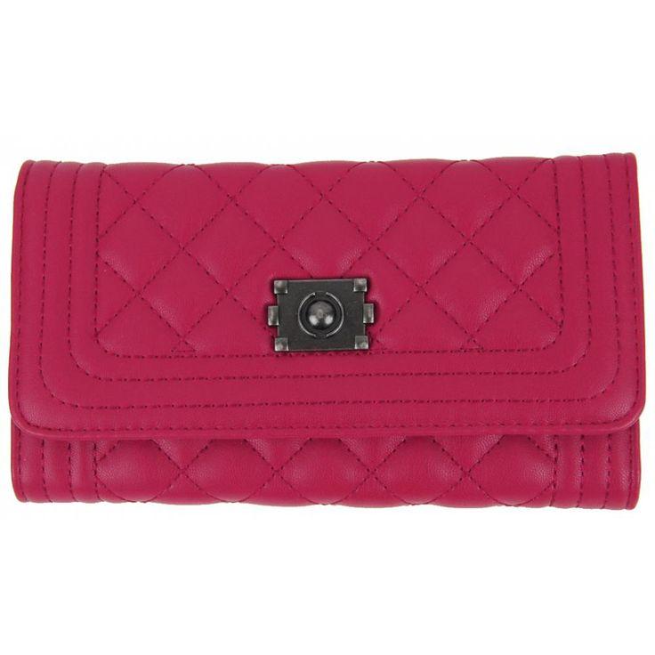 Prošívaná dámská peněženka DF030 růžová