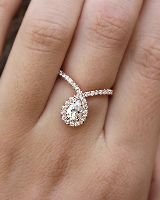 Bliss Engagement Ring -> 1.0ct Moisssanite, rose gold engagement ring, pear cut moissanite engagement ring, side stones are diamonds. Xo Silly Shiny(cool unique design)