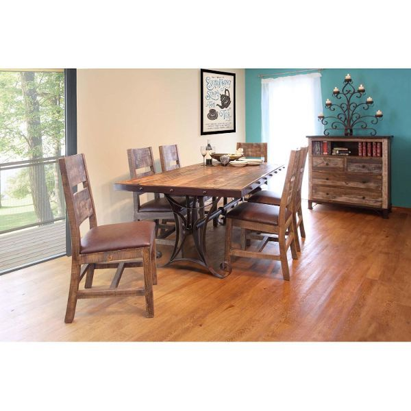 900 Antique 7 Piece Dining Set With Iron Trestle Table By International  Furniture Direct At Stegeru0027s Furniture