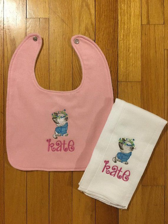 Baby Bib/Personalized Burp Cloth Baby Girl/Personalized Baby