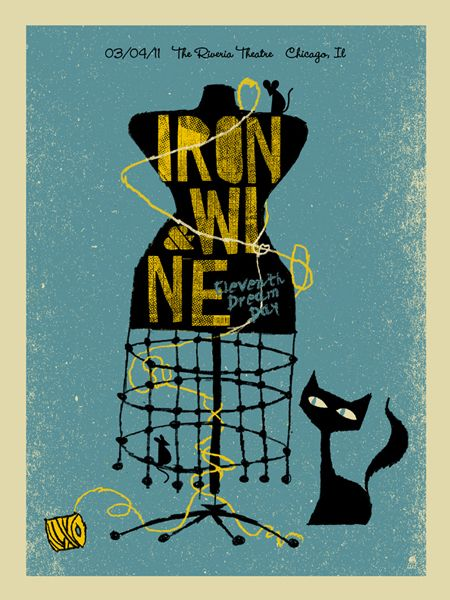 Iron & Wine Concert Poster. Designed by Mthane Studios