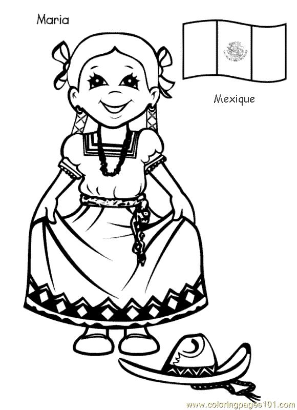 Around the World Printable | free printable coloring page Kids From Around The World 014 (Cartoons ...
