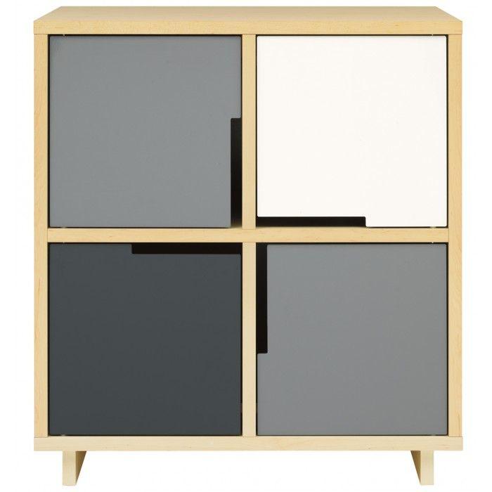 Modu-licious #3 Modern Console Cabinet - Maple on Grey Multi