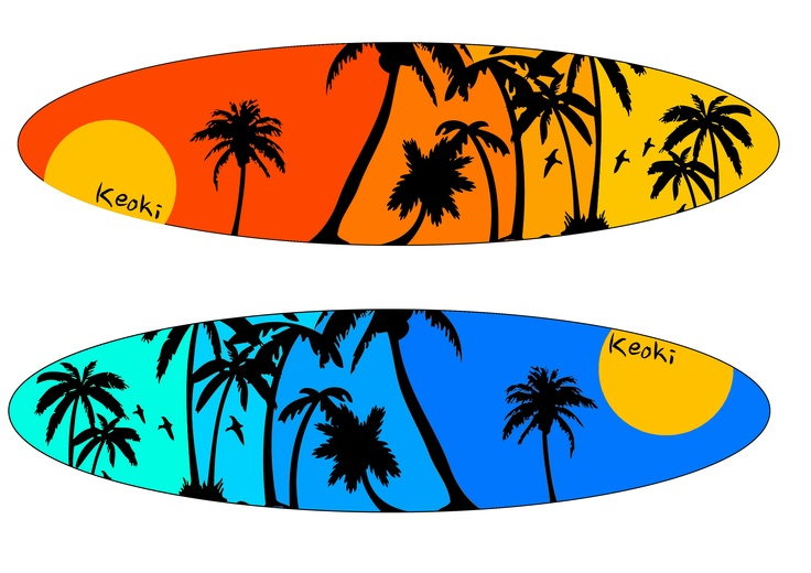 Final surfboard design ideas. I think these are my favourite two designs. One is of a sunrise and the other during the day. I have split them into three colours so it looks like a gradient. Daniel Boss©