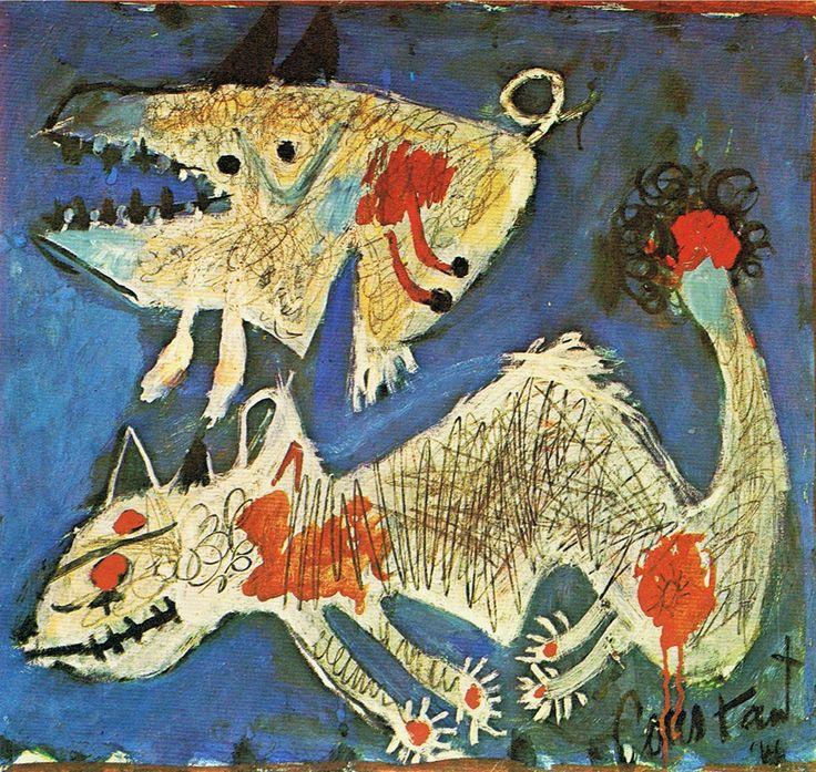 Asger Jorn * Zijn werk bevat vaak angstaanjagende, mythische wezens. Hij wilde in zijn beeldtaal een verbinding leggen tussen de Noord-Europese oude mythologie en zijn eigen moderne tijd. De dieren waren daarbij een afspiegeling van de wereld van de mensen.