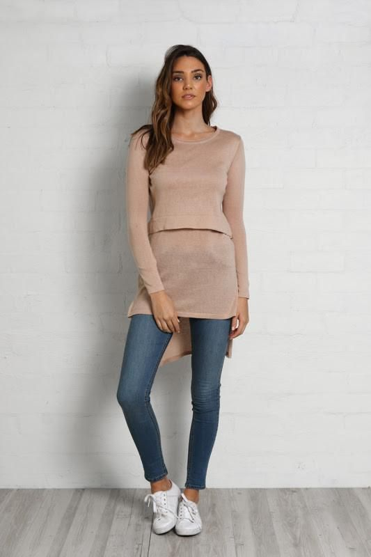 Hana Overlay Knit Top in Sand by Madison Square - (Pre-Order)