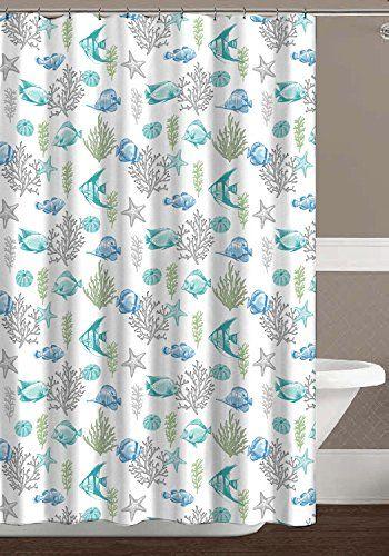Ocean Sea Life Fish Theme Canvas Fabric Shower Curtain Teal Blue Green