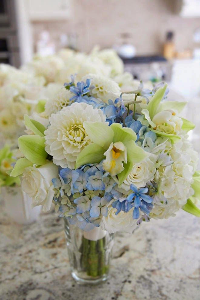 Whites blues and greens #wedding bouquet ~ Erin Camp Photography | bellethemagazine.com