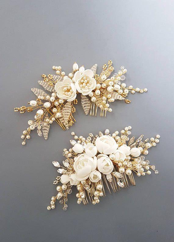 Gold Bridal hair comb, Gold Bridal headpiece, Bridal hair piece, Wedding hair pi…
