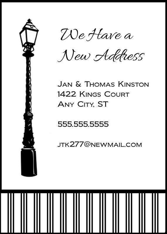 Lampost New Address Announcement by celebrationspaperie on Etsy, $11.50