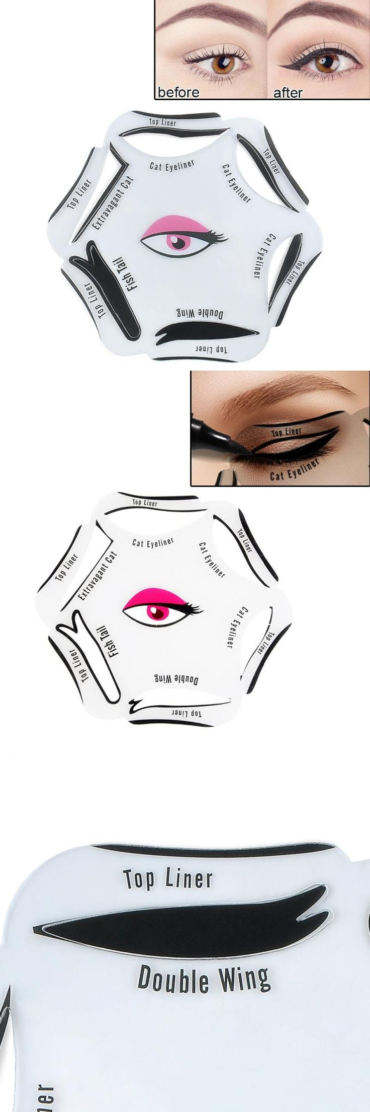 [Visit to Buy] Easy Eyeliner Tutorial 6 in 1 Makeup Eyeliner Stencil Classic Smoky Eyes Template Quick Beauty Tool  #Advertisement