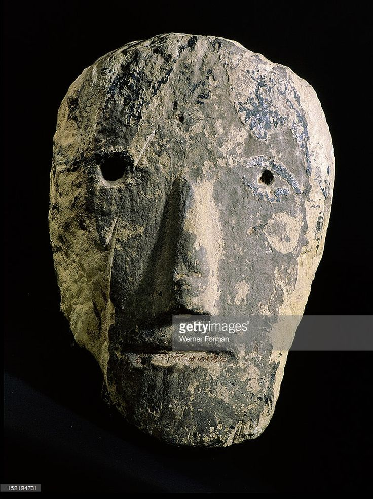 Celtic stone head from southwestern England, The Celts regarded the head as the centre of spiritual power and attributed a protective function to representations of human heads in their art. Britain. Celtic.