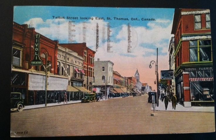 vintage 1931 postcard of Talbot St., St Thomas, Elgin County, Ontario