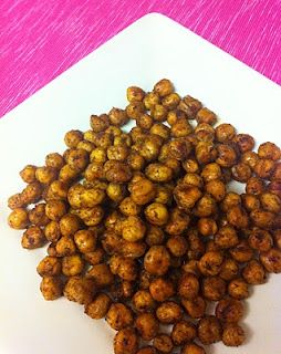 Spicy Roasted Chickpeas! Taste like peanuts, but not as fattening.  3 WW Points for 1/3 cup serving