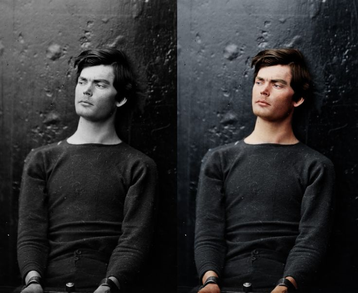 Lewis Powell - one of the Lincoln conspirators. He was hung w/ 3 others in the first ever photographed public execution. The BW image of him is pretty well known in photo history circles but this colorized version is blowing me away right now! I've looked at the BW for so long that it is just so strange seeing it looking so modern. He is literally awaiting his hanging in this image.