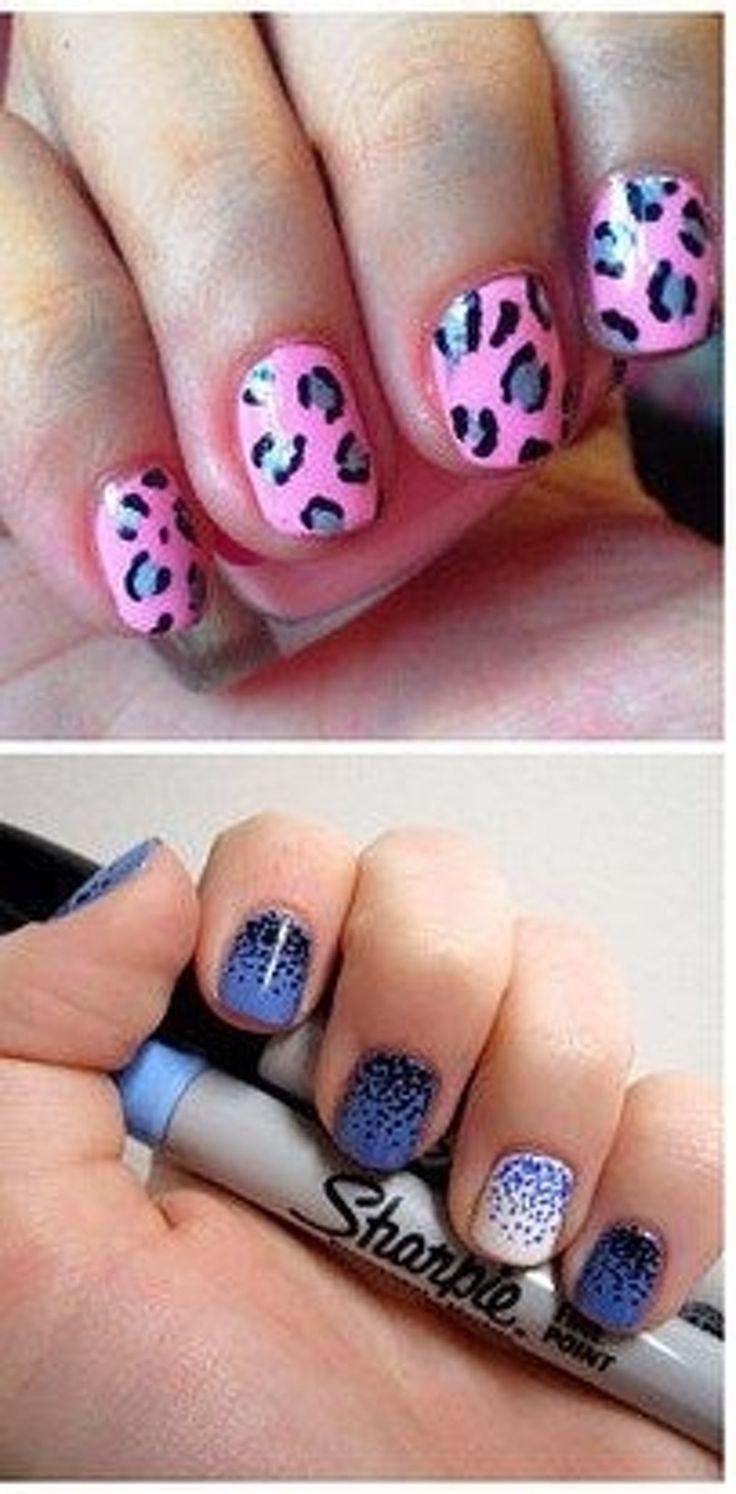 29. #sharpie Nail Art - 39 clous #génial Hacks qui font #peindre vos ongles une #brise... → #Nails