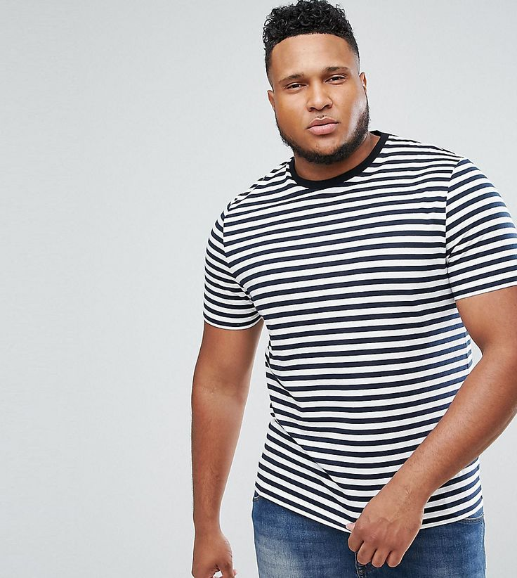 ASOS PLUS Stripe T-Shirt in Navy and White - Navy