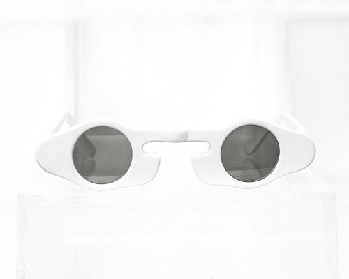 high concept sunglasses in white acetate, designed and produced by General Eyewear