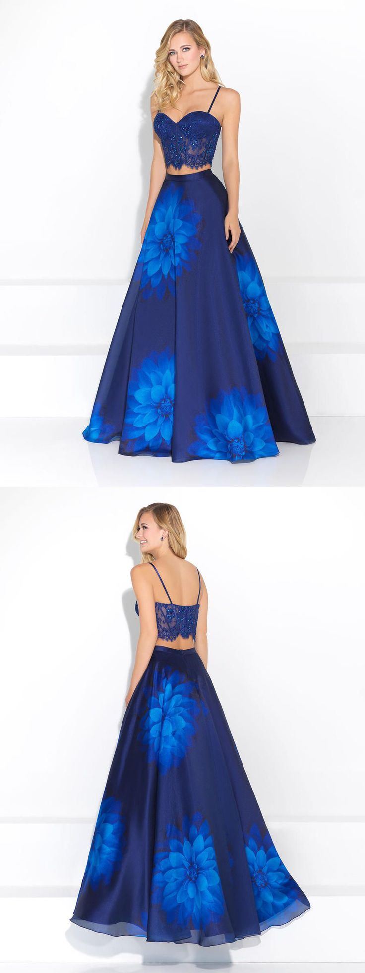 Lace and Floral 2pc Prom Dress