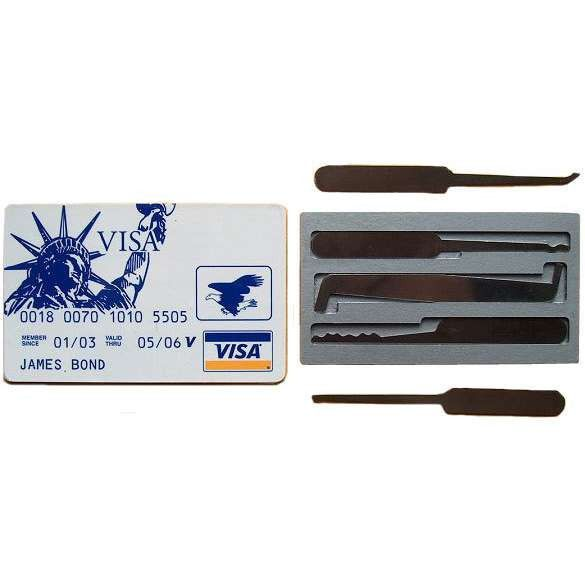 - This discrete Credit Card Lock pick Set has everything you need: - Card case is 1/8 inch thick - Small Half Diamond Pick - Short Hook Pick - Snake Rake Pick - Single Sided Pick - Flat Tension Tool -