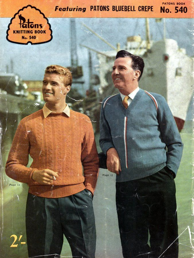 1950s Men's Knitwear Patterns Sweaters Cardigans